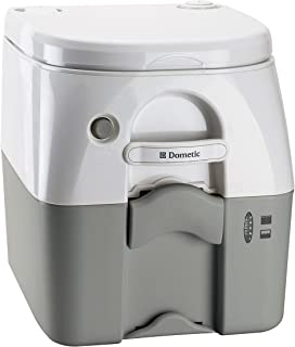 DOMETIC 301097506 Portable Toilet 5.0 Gallon w/Stainless Steel Hold-Down Brackets, Gray