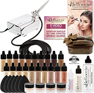 Complete Professional Belloccio Airbrush Cosmetic Makeup System with a MASTER SET of All 17 Foundation Color Shades in 1/4 oz Bottles - Blush, Bronzer, Highlighter, 11 Free Bonus Items, Video Link