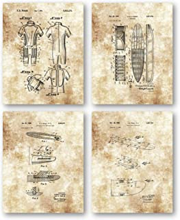 Original Surfboards Drawings Artwork - Set of 4 8 x 10 Unframed Patent Prints - Great Gift for Surfers and Ocean Lovers - Beach House Decor - Mancave Art