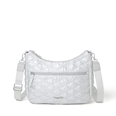 Baggallini Quilted Convertible Hobo (Pewter Metallic) Handbags