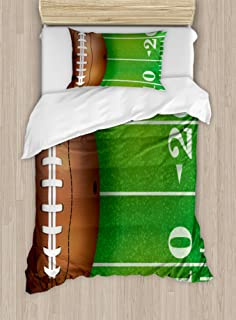Lunarable Sports Duvet Cover Set, American Football Field and Ball Realistic Vivid Illustration College, Decorative 2 Piece Bedding Set with 1 Pillow Sham, Twin Size, Green Brown