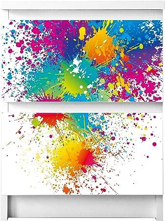 Aufkleber Tattoo perfekt f/ür Wohnzimmer und Kinderzimmer Klebefolie Motiv Bl/üte Mit Tautropfen banjado M/öbelfolie passend f/ür IKEA Malm Kommode 3 Schubladen M/öbel-Sticker selbstklebend