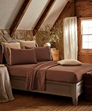 Regal Comfort Embroidered Barbed Wire Western Plains Collection Sheet Set (King, Brown)