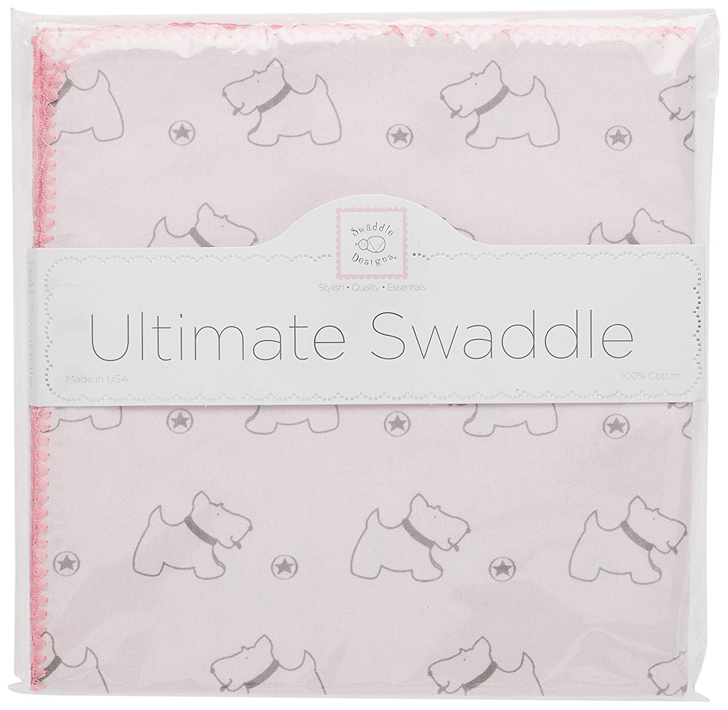 SwaddleDesigns Ultimate Winter Swaddle, X-Large Receiving Blanket, Made in USA, Premium Cotton Flannel, Gray Doggie with Pink Trim (Mom's Choice Award Winner)