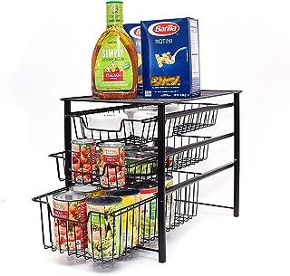 3s Sliding Basket Organizer Drawer, Cabinet Storage Drawers,Under Bathroom Kitchen Sink Organizer, Tier Black.