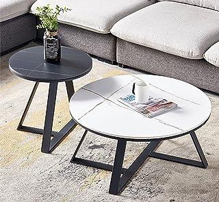 CJDM Combinaison de Table Basse de Salon, Petit Appartement de Luxe léger Maison Salon Rock Board Petite Table Ronde Amovi...
