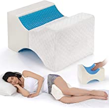Memory Foam Knee Pillow with Cooling Gel Leg Pillow Wedge for Side Sleepers Contour Leg Support for Surgery Joint Hip Back...