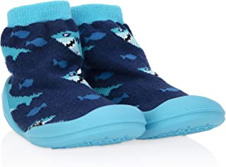 Nuby Snekz Comfortable Rubber Sole Sock Shoes for First Steps- Blue Sharks/Small 7-14 Months