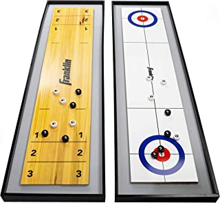 Franklin Sports 2-in-1 Shuffleboard Table and Curling Set - Portable Tabletop Set Includes 8 Rolling Mini Pucks - 45