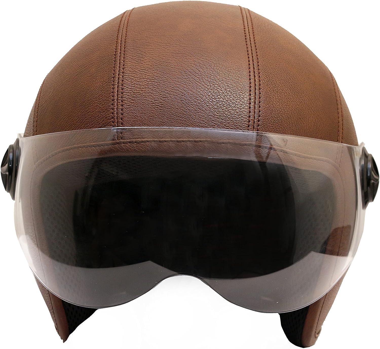 THE BIKERZ Leather Popular Half Houston Mall Brown FACE Helmet