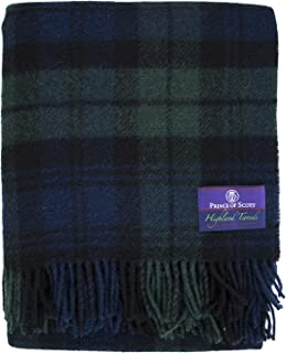 Prince of Scots Highland Tartan Tweed 100% Pure New Wool Throw (Black Watch)