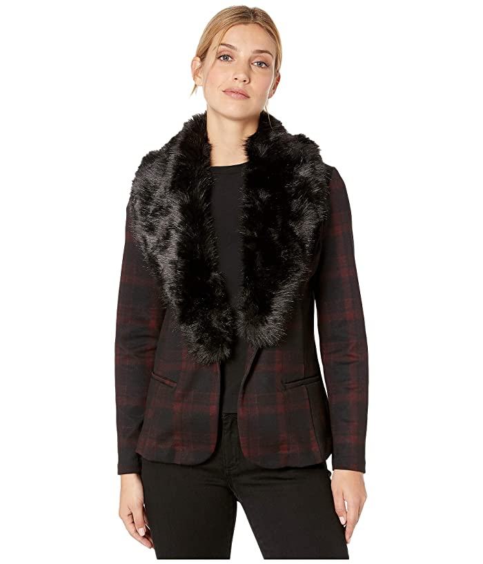 Liverpool  Fitted Blazer in Tartan Plaid Knit with Removable Faux Fur Collar (Red/Black) Womens Clothing