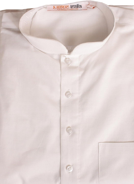 Exotic India Pijama kurta en blanco puro
