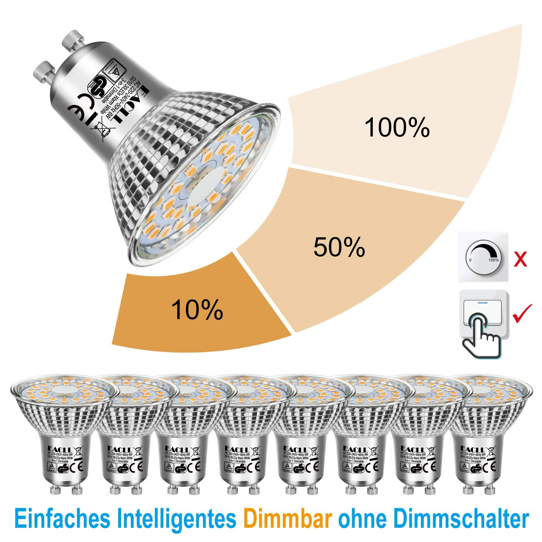 EACLL Bombillas LED GU10 Regulable Blanco Cálido 2700K 6W 570 Lúmenes PAR16 Lámparas, 3-en-1 Ajuste de Luz Sin dimmer. Atenuación de 3 etapas con un interruptor normal. 8 Pack: Amazon.es: Iluminación