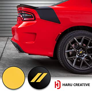 Haru Creative - Stripe Hash Rhombus Wheel Center Cap Overlay Vinyl Decal Sticker Compatible with and Fits Dodge Charger and Challenger 2017 2018 (no Wheel caps Included) - Matte Yellow