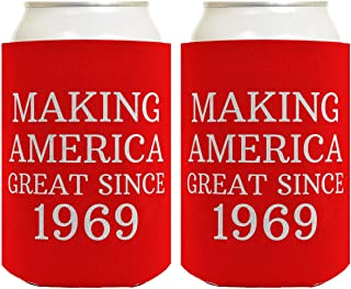 Birthday Gifts for 50th Birthday Making America Great Since 1969 50th Birthday Gag Gifts for Birthday Party 2 Pack Can Coolie Drink Coolers Coolies Red