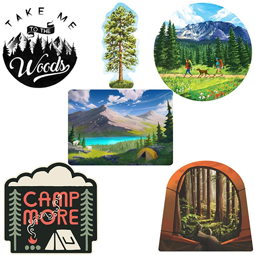Camping Sticker Art Pack - 6 pcs - waterproof stickers