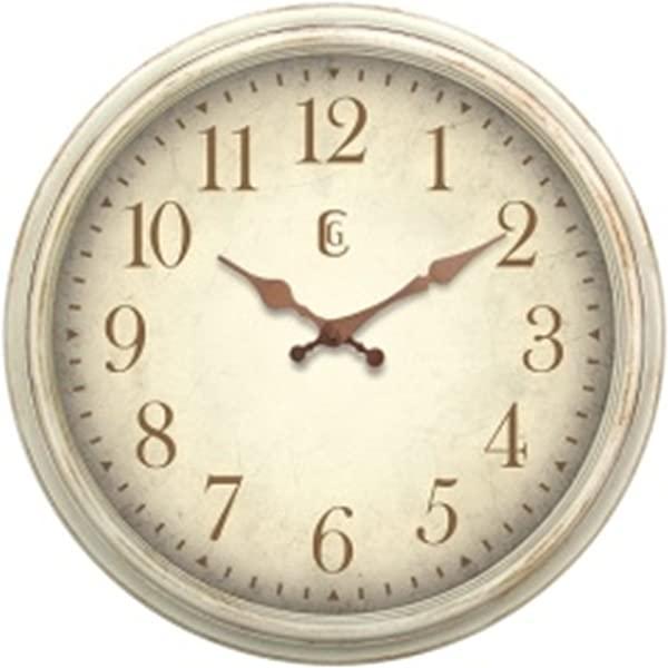 日内瓦时钟仿古白色塑料挂钟 16 英寸