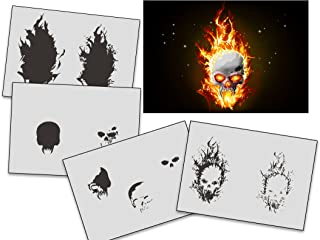 UMR-Design AS-326 Flames Skull Airbrush StencilsTemplates Step by Step Size L 9.8 x 6.3 inch