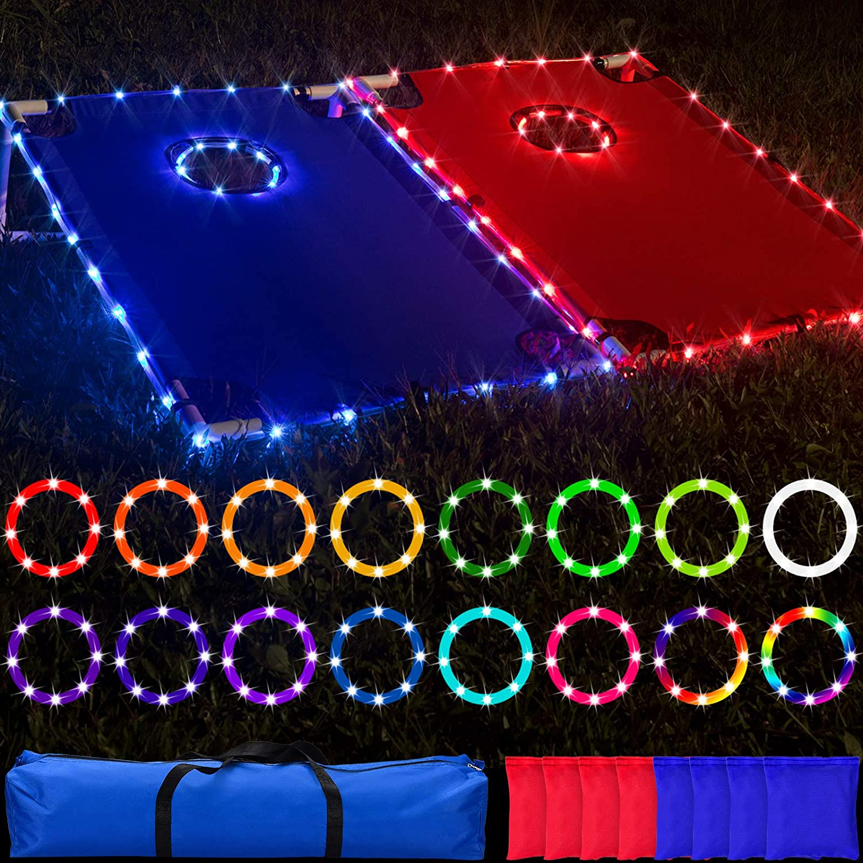 LED PVC Framed Cornhole Light Set Lights 16 Don't Austin Mall miss the campaign Remote Control
