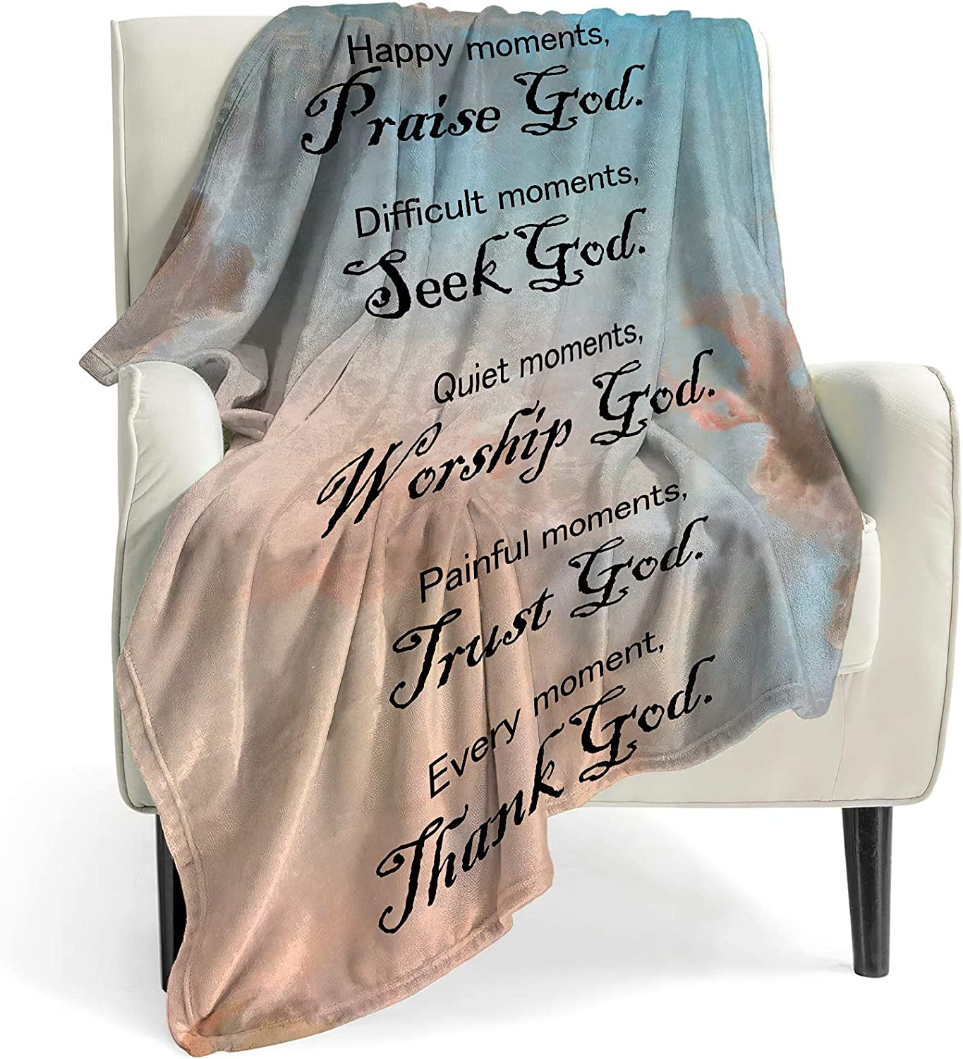 BOOPBEEP Healing Throw Blanket with Inspirational Thoughts and Prayers- Religious Soft Throw Blanket Inspirational Blankets and Throws 40x50 Inch Throw Blankets Perfect Caring Gift for Men & Women