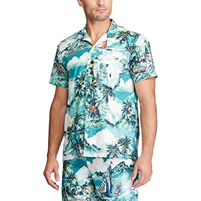 Polo Ralph Lauren Tropical Stretch Woven Short Sleeve PJ Top (Stormy Tropical Print/Cruise Navy Pony Print) Men