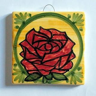 Rosa- Mattonella di ceramica fatta a mano,dimensioni cm 10x10x0,8 cm,pronta per essere attaccata al muro.Made in Italy,Tos...