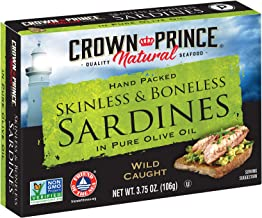 Crown Prince Natural Skinless & Boneless Sardines in Pure Olive Oil, 3.75-Ounce Cans..