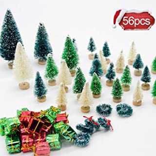 Iceyyyy 56 Pcs Artificial Mini Christmas Trees Set - Miniature Sisal Frosted Christmas Trees Bottle Brush Trees for DIY Crafts Home Table Top Decor