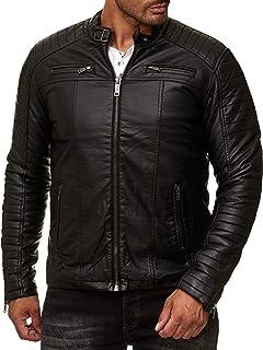 Leather Jacket Men Faux Redbridge black Stand-Up Collar tapered Slim Fit