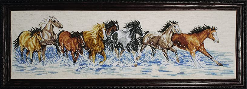 Design Works Crafts 2499 Splashdown Horses Counted Cross Stitch Kit, 8