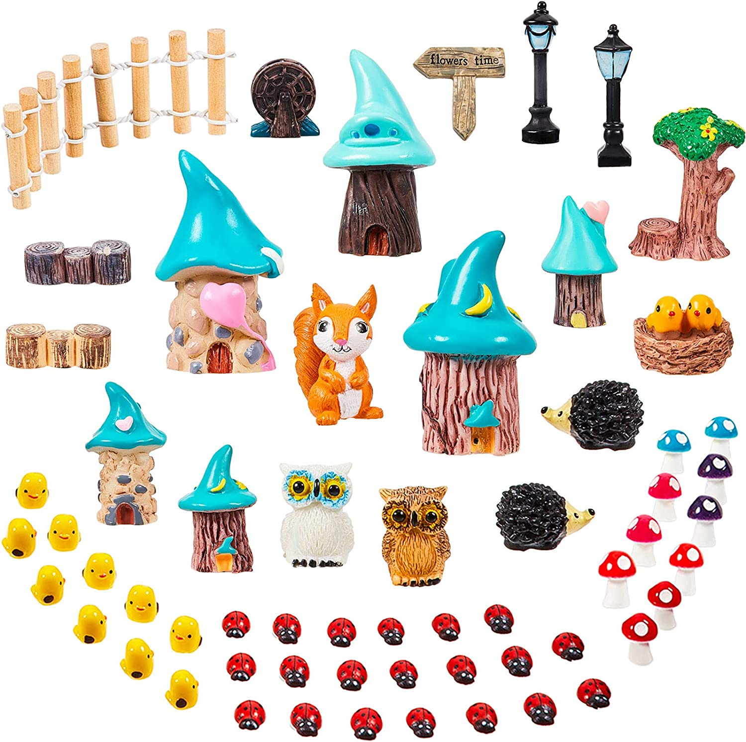 60 Pieces Miniature Fairy Garden Accessories Micro Landscape Ornaments Mini House and Mushroom Figurines Miniature Animals Decorations Outdoor for Dollhouse Potted Plant Patio
