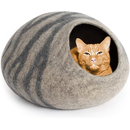 handmade felted from 100/% natural eco sheep wool grey mixed with brown cats love it Bed House READY TO SHIP: Cat Cave