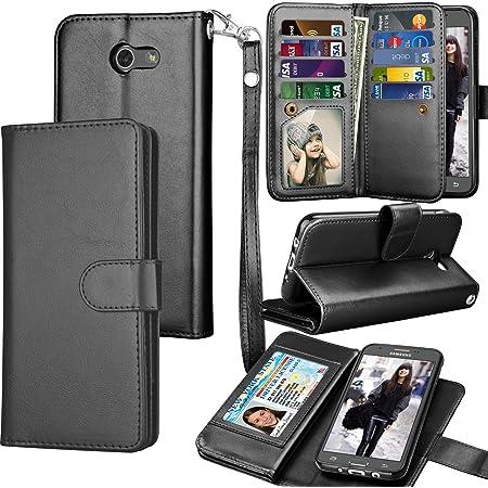 Tekcoo for Galaxy J3 Emerge / J3 Prim / J3 Luna Pro / J3 Mission / J3 Eclipse Wallet Case, Luxury PU Leather Credit Card Slots Holder Purse Carrying Folio Flip Cover for Samsung Amp Prim 2 - Black