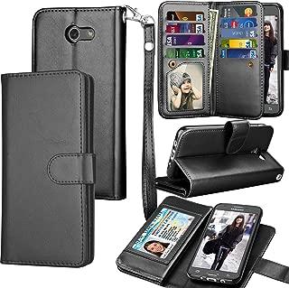 Tekcoo for Galaxy J3 Emerge / J3 Prime / J3 Luna Pro / J3 Mission / J3 Eclipse Wallet Case, Luxury PU Leather Credit Card Slots Holder Purse Carrying Folio Flip Cover for Samsung Amp Prime 2 - Black