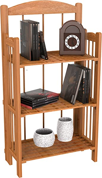 Bookcase For Decoration Home Shelving And Organization By Lavish Home 3 Shelf Folding Wood Display Rack For Home And Office Light Brown