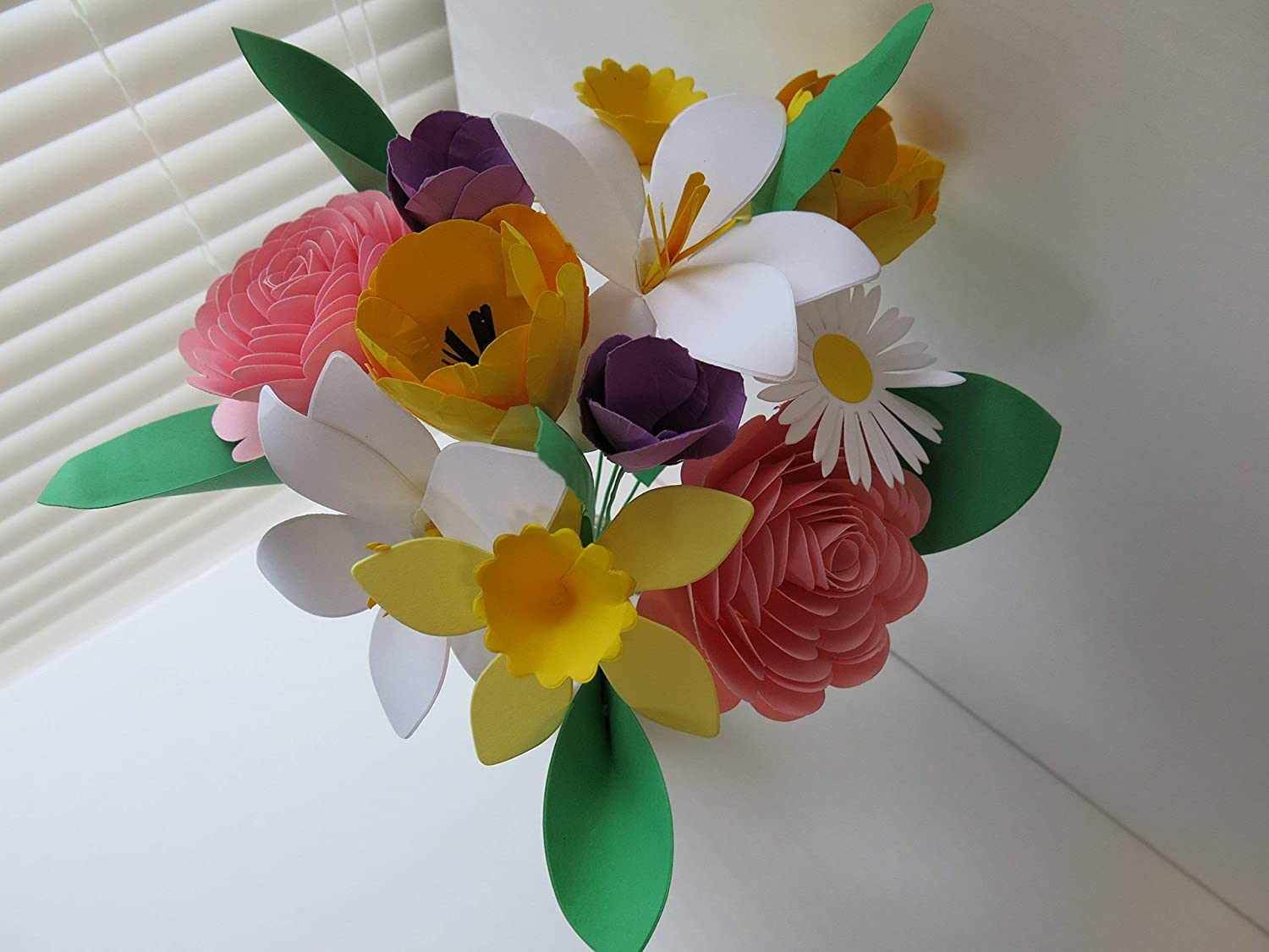 Amazon.com Mother's Day Bouquet Spring Paper Flower Mix on Stems ...