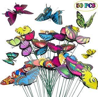 50 Pz Colorido Jardín Mariposas, Allazone 3 Tamaño Alas Dobles Papillons de Jardin Ornements de Jardin para Decoración de Planta, Yarda Exterior, Ornamento de Jardín