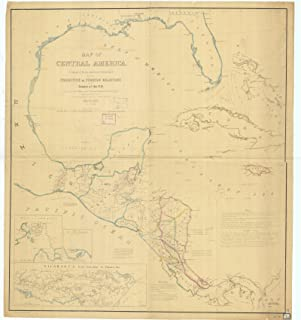 Vintography c.1856 18 x 24 Reproduction Old Map Chart Nautical Map Central America Mississippi NOAA 287