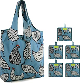 Animal Shopping Bags Extra Large 50Lbs Sturdy Rip-Stop Nylon Grocery Totes Machine Washable Funny Guinea Fowl Patterns Set of 5 Eco-friendly Bags Green