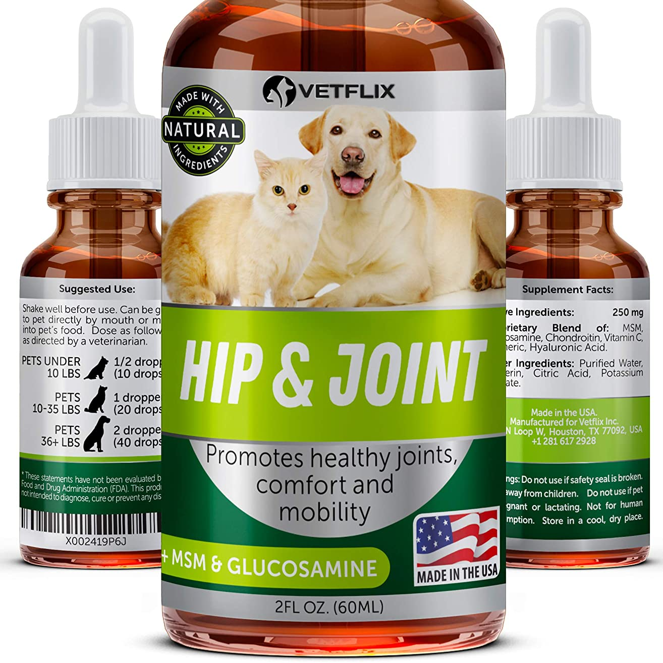 Glucosamine for Dogs & Cats - Made in USA - Premium Hip & Joint Supplement for Dogs & Cats - Improves Mobility & Flexibility - Dog Arthritis Pain Relief - 100% Natural - MSM, Chondroitin, Vitamin C