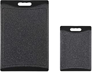 Home & Kitchen Essentials 2-Piece Cutting Board Set. Reversible, Marble Granite Gray, BPA Free, Dishwasher Safe, Easy-Grip Handle and Non-Porous with Juice Grooves