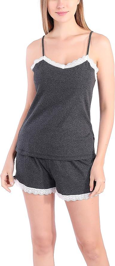 Encaje Pijamas Mujer Verano Invierno Sexy Aesthetic Algodón Conjuntos Camiseta Pantalones Cortos Dormir Tops Ropa