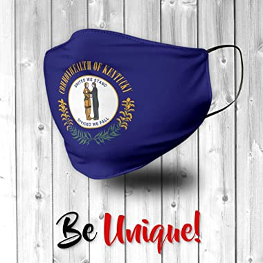 Novelty Native Kentucky State Flag USA Face Mask - Face Mask - Breathable, Reusable and Machine Washable - Made in USA
