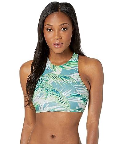 Carve Designs Sanitas Reversible Bikini Top (White Palms/Bay Stripe) Women