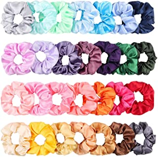 WATINC 28Pcs Silk Satin Hair Scrunchies Set for Women, Strong Elastic Hair Bobbles for Ponytail Holder, Colorful Hair Acce...