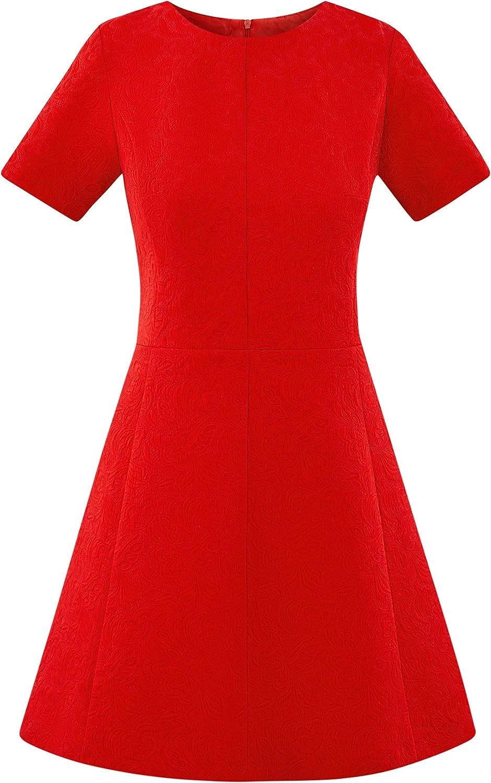 oodji Ultra Damen Kurz/ärmliges Jacquard-Kleid