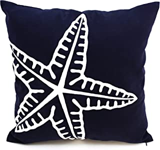 KainKain Nautical Throw Pillow Cover, Starfish Ocean Theme Decor, Navy Blue White Couch Sofa Pillow Embroider, Coastal Beach House Cottage Cushion (18 inch x 18 inch)