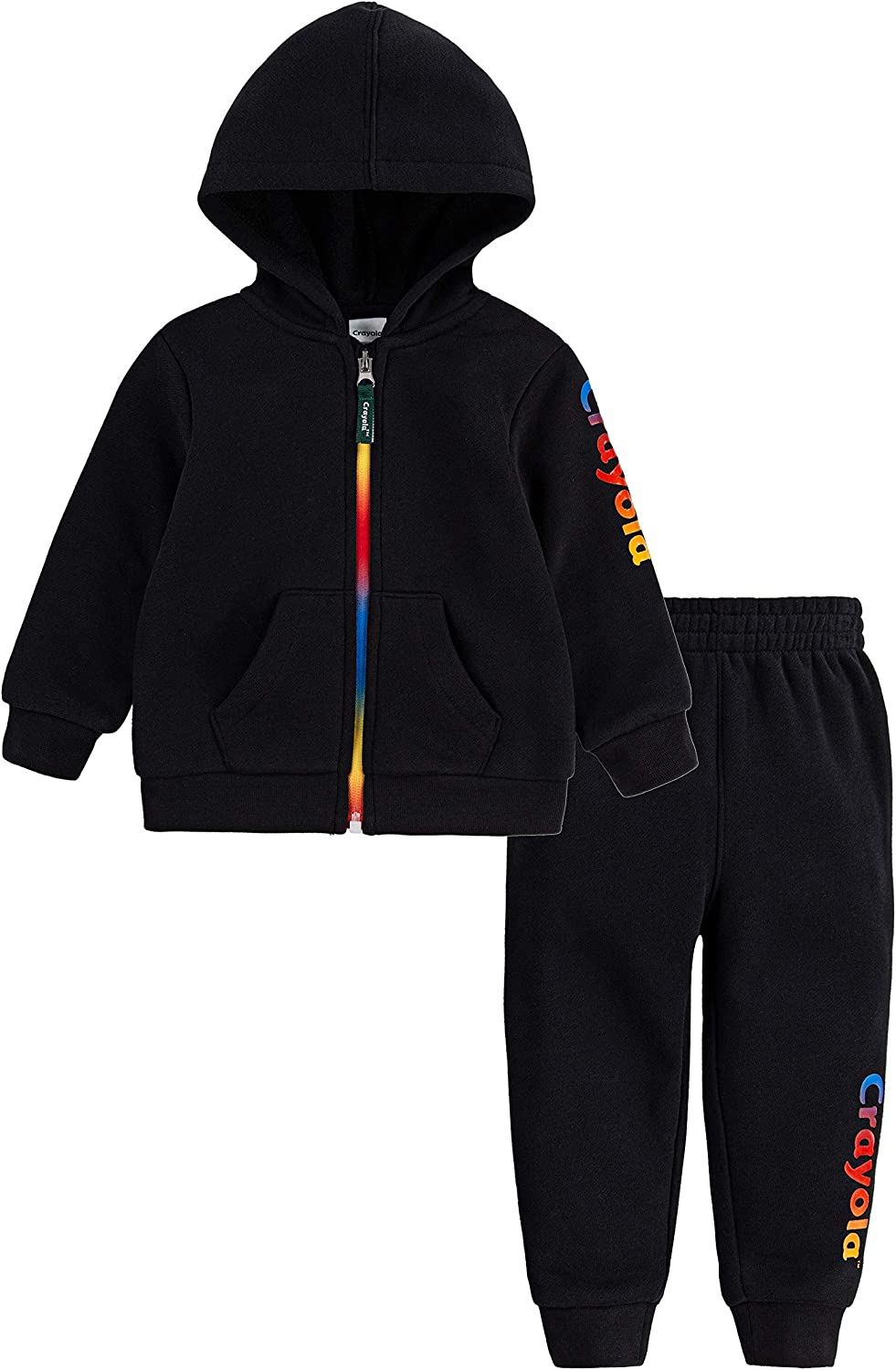Crayola Baby Full Zip Hoodie and Jogger Pants 2-Piece Outfit Set, Black/Rainbow, 12M
