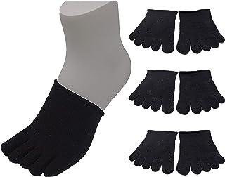 USK STORE シルク 5本指ハーフソックス 3足セット 重ね履き 冷え取り 天然素材 男女兼用 22-27cm (黒)
